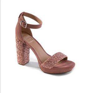 Kaari Blue RoRy Block Heel Platform Sandals trendy